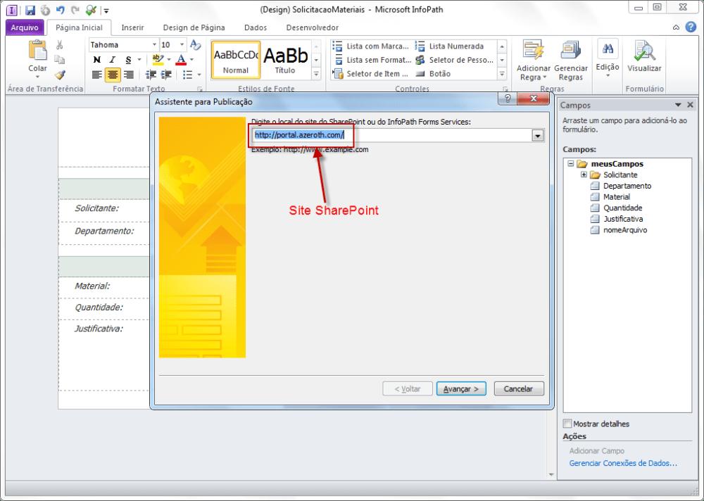 Publicando Formulário InfoPath no SharePoint (6/6)