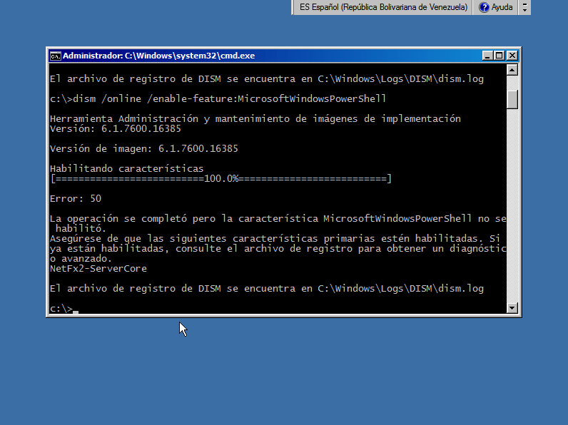 How To: Habilitar Powershell en Windows Server 2008 R2 Server Core (2/4)