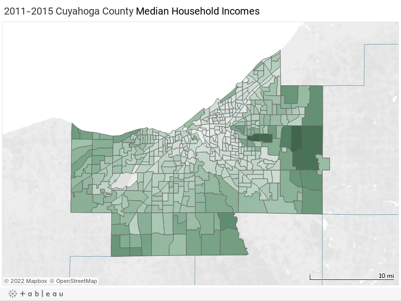 2015 Cuyahoga County Median Household Incomes