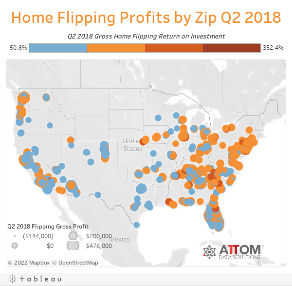 Home Flipping Profits by Zip Q2 2018