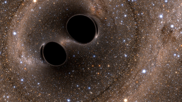 Image from a simulation of a binary black hole merger seen in visible light near from the black holes