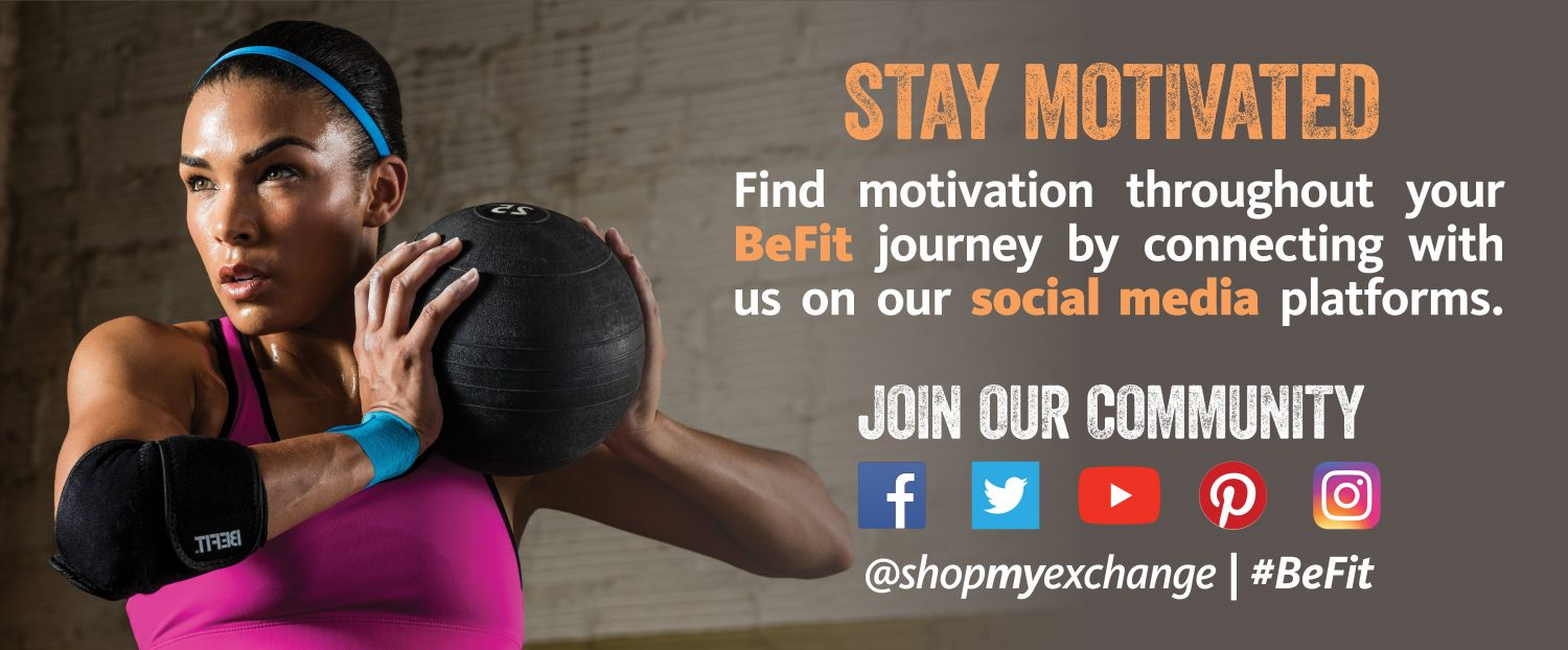 Connect with Be Fit via Social Media at shop my exchange / Be Fit