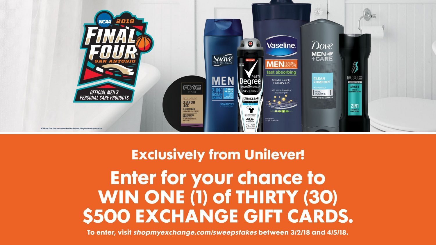March Madness: Military Shoppers Can Win a $500 Exchange Gift Card in Unilever Sweepstakes