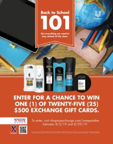 Military shoppers can enter the Unilever/Axe Back to School Sweepstakes to win a $500 Exchange gift card.