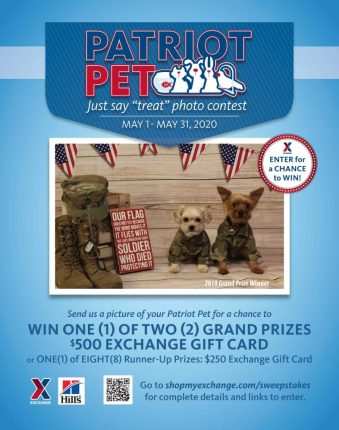 "Exchange Patriot Pet Just Say ""Treat"" Photo Contest poster"