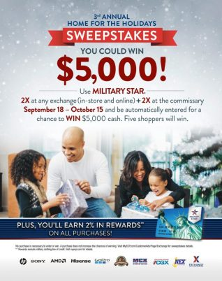 Through Oct. 15, military exchange and commissary shoppers will get a chance to win $25,000 in cash prizes in the MILITARY STAR® card's Home for the Holidays sweepstakes—and entering is as simple as swiping a card.