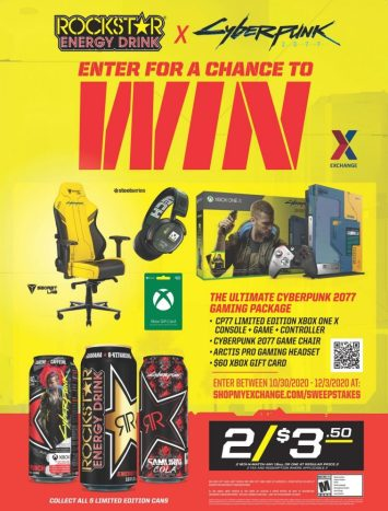 Army & Air Force Exchange Service shoppers will get the chance to win the ultimate Cyberpunk 2077 experience—an Xbox One X gaming setup valued at $1,455—Oct. 3-Dec. 30 in the Rockstar Cyberpunk sweepstakes.