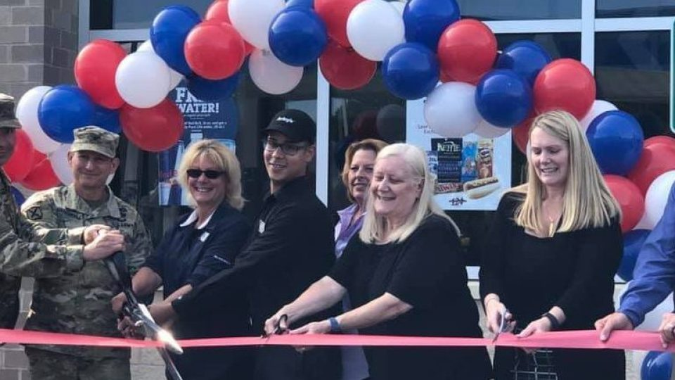 Exchange associates and garrison command cut the ribbon on Fort Drum's Ontario Express