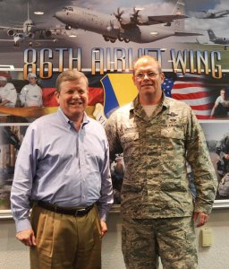 Director/CEO Tom Shull met with 86th Airlift Wing Commander Brig. Gen. Richard Moore during Shull's visit to Ramstein AB.