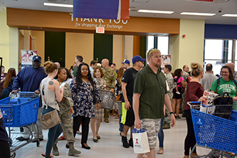 Shoppers file into the renovated Yokota AB Exchange during its grand re-opening day.