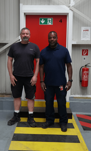Forklift Operator Charles Young, left, and Warehouse Foreman Robert Young.