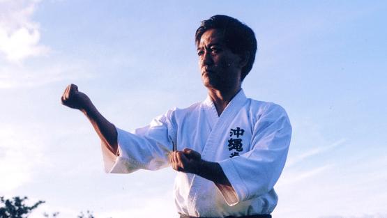 "Butler Express Manager Toru Kiyan practices a basic style of Okinawa Kempo called ""Seisan."""