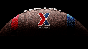 football with Exchange chevron logo