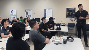 Roy Montez, the Exchange's BE FIT ambassador, talks to a class of food service workers at Fort Sill, Okla., about how to make better-for-you options.