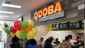 Line at Qdoba restaurant.