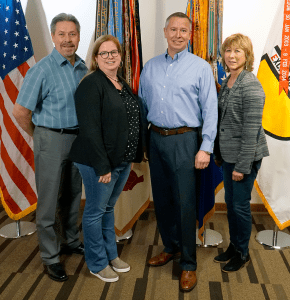 Left to right, David Wormald, USTRANSCOM functional support lead; Morgan Meeks, Exchange vice president of transportation operations; Stephen Hendren, USTRANSCOM's Exchange team lead; and Karen Stack, Exchange executive vice president/chief logistics officer.