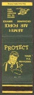 World War II matchbook urging people to protect their PX shopping privileges.