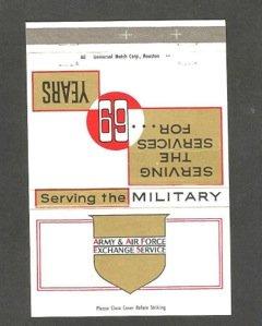 Matchbox celebrating the Exchange's 69th anniversary, 1964
