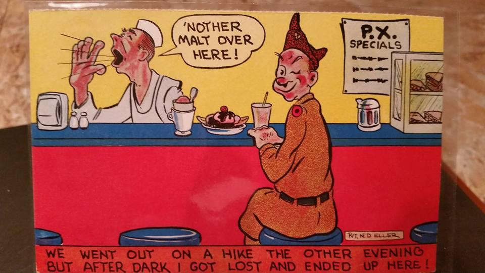 World War II cartoon post card