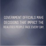 """Image reads """" Government Officials make decisions that impact the realities people face every day. Image used on O.W.B Public Affairs Digest Home Page"""
