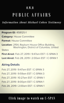 Image embedded in O.W.B Public Affairs Digest Post Titled' Michael Cohen, Donald Trump's former lawyer testifies live on C-Span Plea deal included' OWB Public Affairs Post Image written by Olivia P. Walker