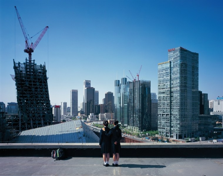 More Chinese girls staring into the future Weng Fen   Bird s Eye View New Beijing 9 Photography  160    200 cm 2007