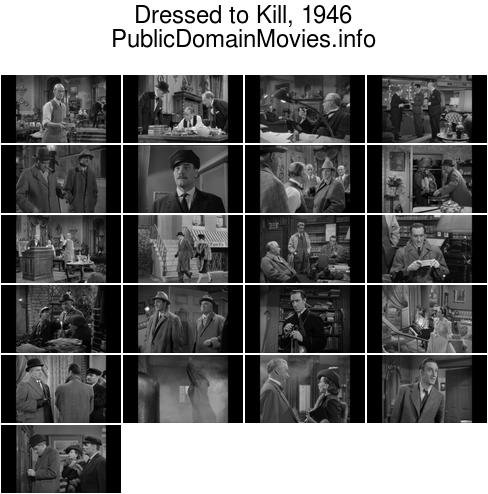 Dressed to Kill, 1946 starring Basil Rathbone as Sherlock Holmes