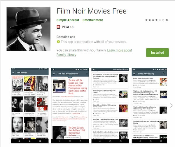 Film Noir Movies Android App