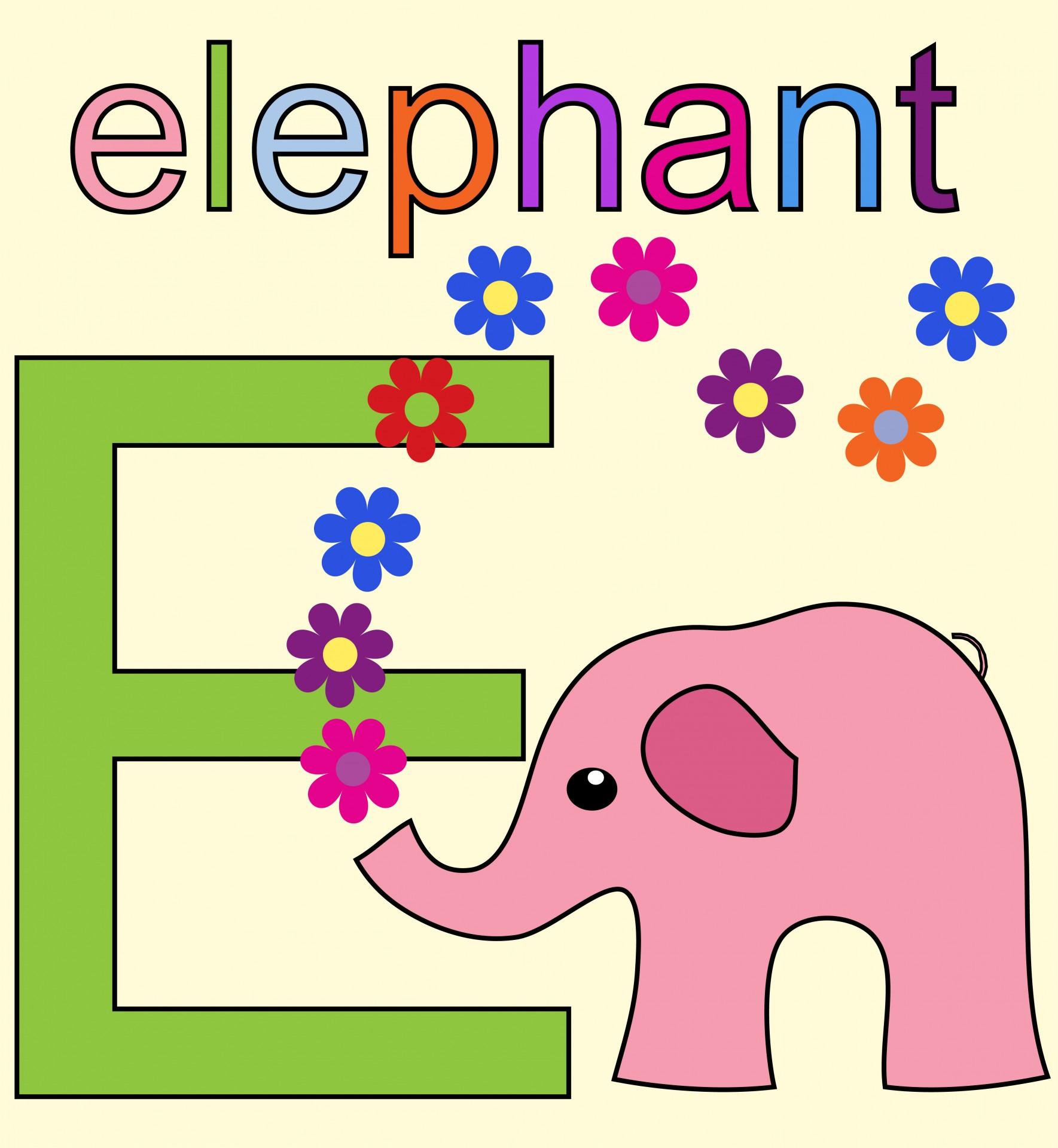 Elephant Alphabet Letter E Free Stock Photo