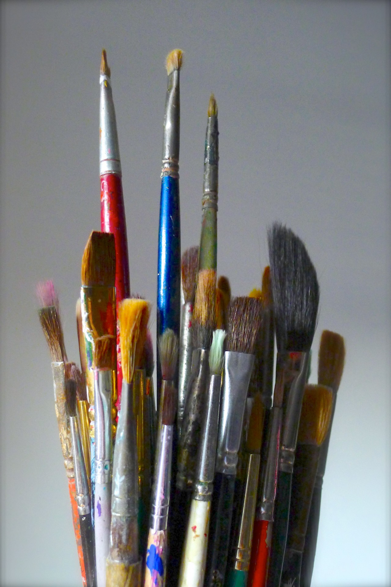 Bouquet Of Artist S Paintbrushes Free Stock Photo