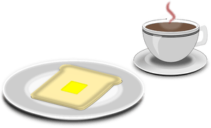 Vector illustration of coffee and toast serving