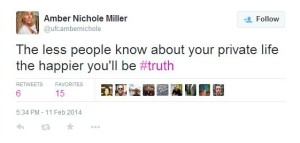 Strangely Amber Nichole Miller tells the world about her private life daily,