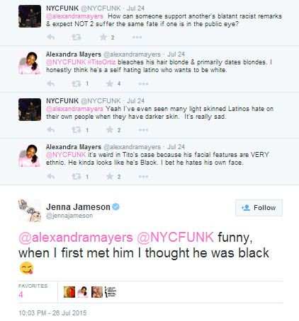 Tito Ortiz is NOT racist due to Jenna Jameson's influence. Jenna is not racist AT ALL! When she first met him, she thought he was Black.