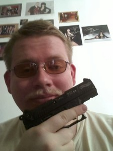 documented stalker Tristan Stadtmuller with one of his multitudes of firearms