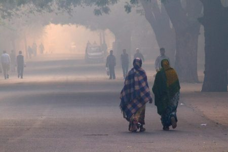 Extreme smog conditions in New Delhi, India