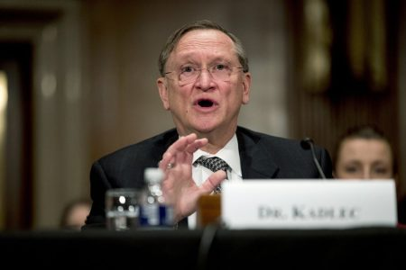 Dr. Robert Kadlec testifies before a Senate Education, Labor and Pensions Committee hearing on the coronavirus on Capitol Hill in Washington.