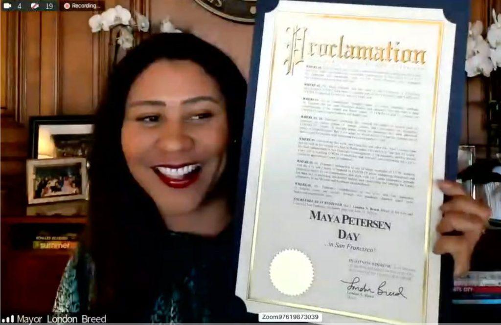 SF Mayor London Breed presenting the Maya Petersen Day proclamation.