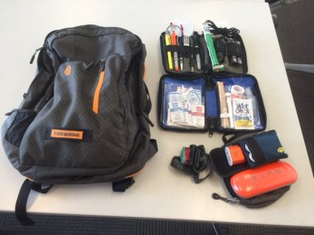 "Dave Nichols, Public Health Reserve Corps Manager: ""I do not own a car; I ride the bus or walk so I have to be ready for what comes. During the rainy season, I also have rain pants in my bag at all times."" Here are some items Dave recommends: Compass, pens, jump drive, Leatherman's tool, flashlight, light stick, space blanket, stretchy rope, basic first aid kit, extra glasses, headlamp (for walking home in the dark if traffic out), battery pack. Get started two or three items from his list to your commuter preparedness!"