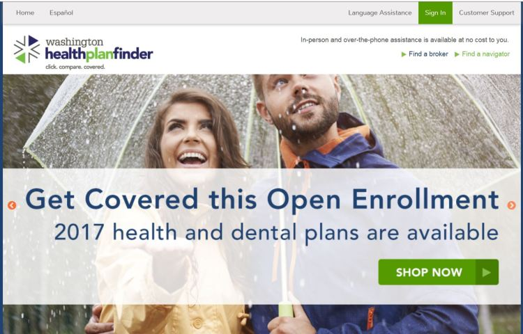 Washington Healthplanfinder is the state's online insurance marketplace