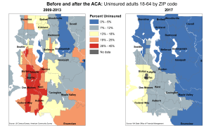 Before and after the ACA: Uninsured adults by ZIP code