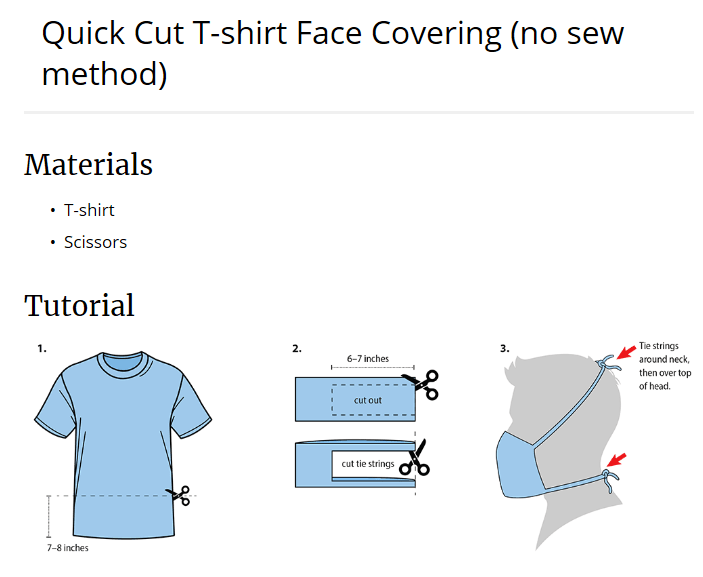 A diagram with quick instructions for making a face coverings from a cut T-shirt.