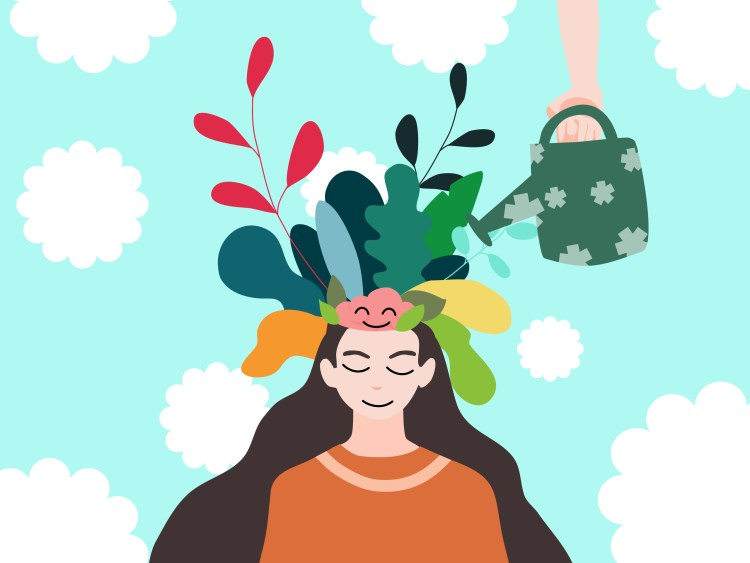 Illustration of a woman with flowing brown hair. There are illustrated flowers and leaves of different colors coming out of her head and a hand holding a watering can is watering them. The background is a light blue with cloud-like shapes