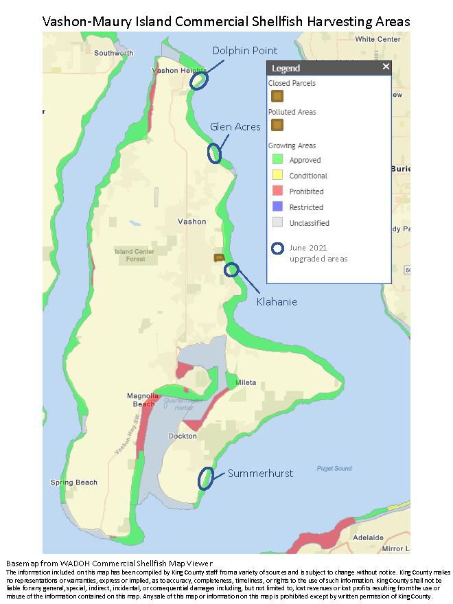 Map of Vashon-Maury Island with Dolphin Point, Glen Acres, Klahanie, and Summerhurst circled.