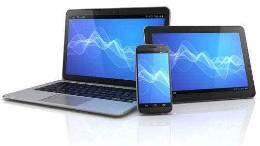 gerenciamento no smartphone ou tablet