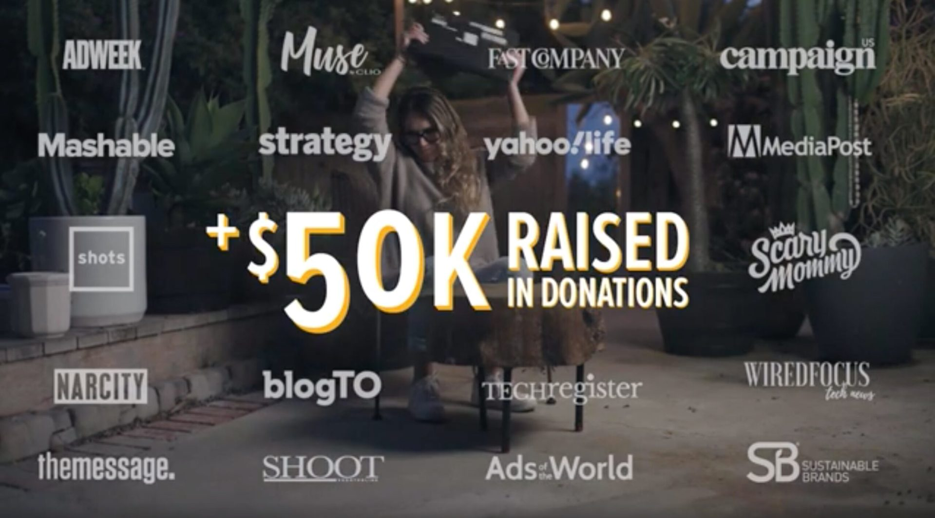 Logos of publications where campaign was featured along with impact $50k money raised in donations