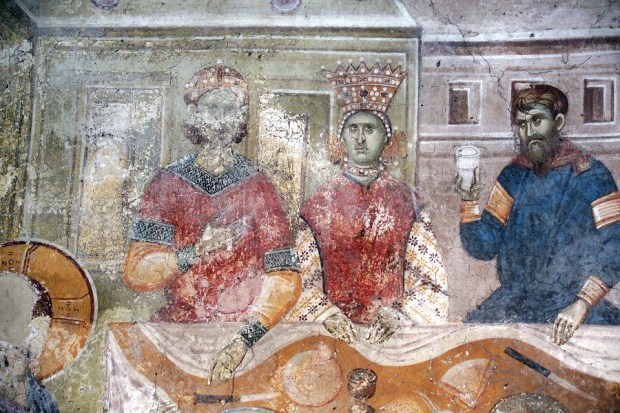 Marriage at Cana, detail of the two newlyweds, 1320–21, fresco. Monastery of Gračanica, naos, west wall (photograph provided by BLAGO Fund, USA/Serbia, www.srpskoblago.org)