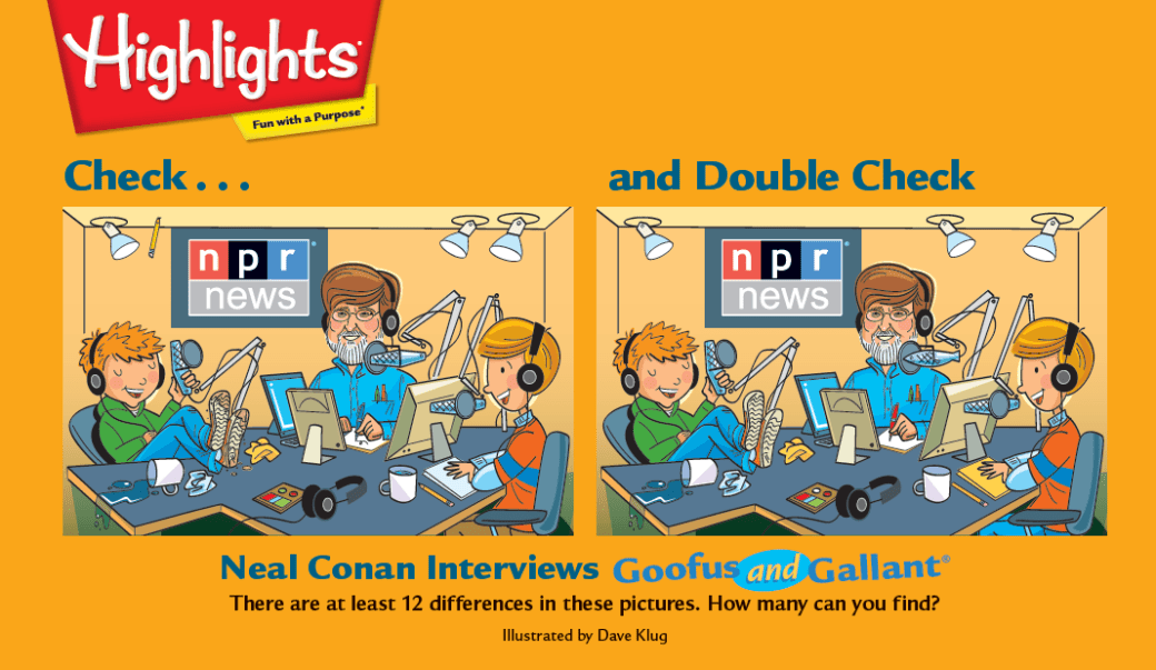 NPR News graphic recreating a Highlights magazine