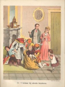 From the school teacher's book: Saint Nicholas and his servant putting naughty children in a sack © Schenkman | [Public Domain]