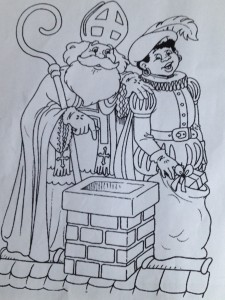 A coloring book page: Saint Nicholas instructing Black Pete to drop presents in the chimney © http://sinterklaas.stoompage.info