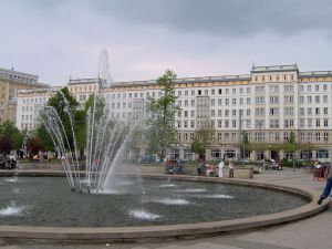 Central Magdeburg in 2004 showing Stalinist neo-classical building (same as first photo) on street now called Wolgaster Strasse. © ProhibitOnions | Wikimedia Commons